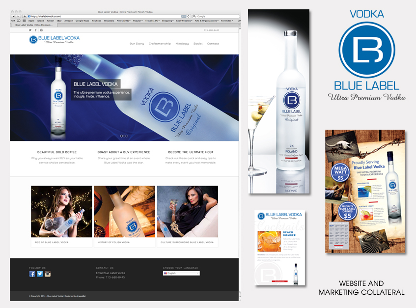 Website and Marketing Collateral for Blue Label Vodka