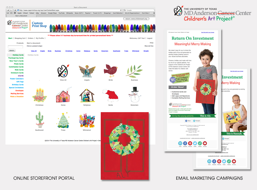 Online Storefront Portal, Email Marketing Campaigns for MD Anderson Cancer Center Children's Art Project