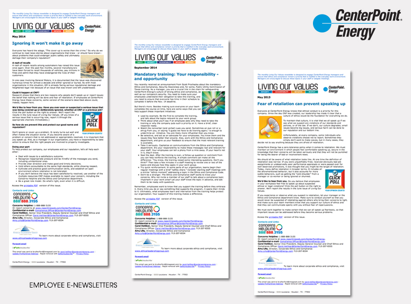 Employee Email Newsletters for CenterPoint Energy