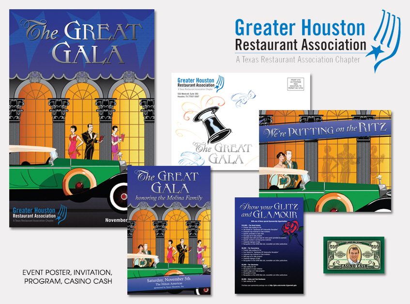 Event Poster, Invitation, Program, Casino Cash for The Greater Houston Restaurant Association